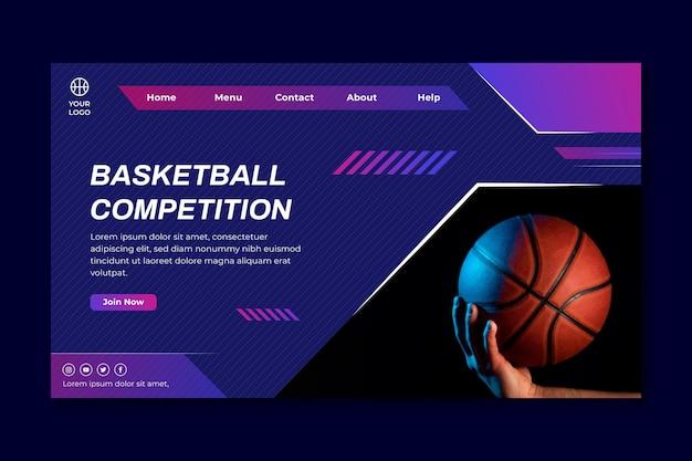 Modelo de página de destino com jogador de basquete masculino