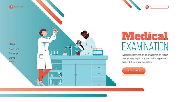 Modelo de página de destino com laboratório médico e pessoas fazendo exames
