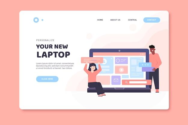 Modelo de página de destino com laptop