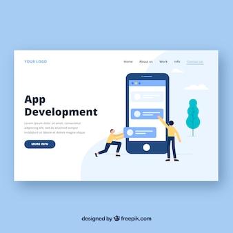 Modelo de página de destino com o conceito de desenvolvimento de aplicativos