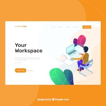Modelo de página de destino com o conceito de espaço de trabalho