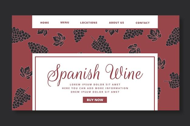 Modelo de página de destino com padrão de vinho