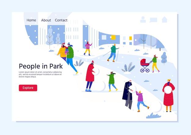 Modelo de página de destino com pessoas caminhando no parque da cidade de inverno, pais caminhando com crianças e se divertindo ao ar livre. vetor para web design, folheto, cartaz, banner, plano de fundo de férias