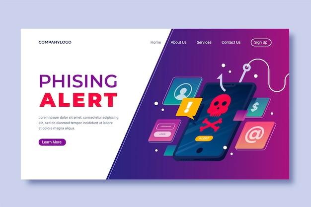 Modelo de página de destino com phishing para celular
