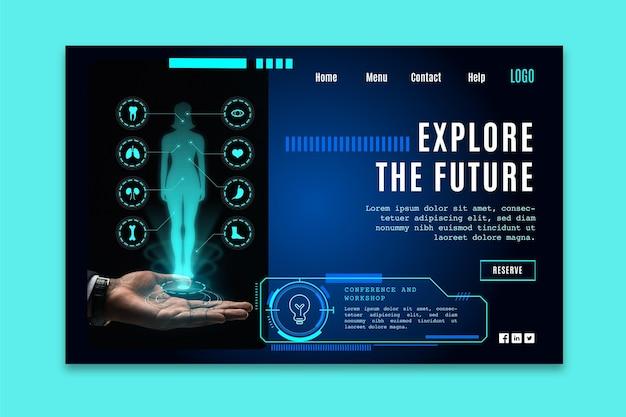Modelo de página de destino com tecnologia futurista