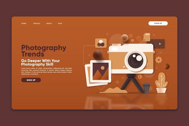 Modelo de página de destino com tendências de fotografia