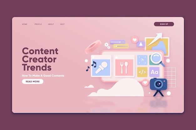 Modelo de página de destino com tendências do criador de conteúdo