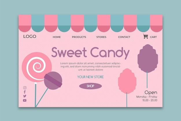 Modelo de página de destino comercial em barra de chocolate rosa