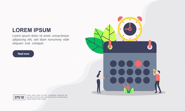 Modelo de página de destino. conceito de horário de aula ou cronograma, criação de plano de estudo pessoal, planejamento de tempo de aprendizagem e agendamento