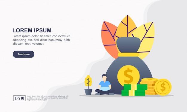Modelo de página de destino. conceito de ilustração de orçamento com caráter.