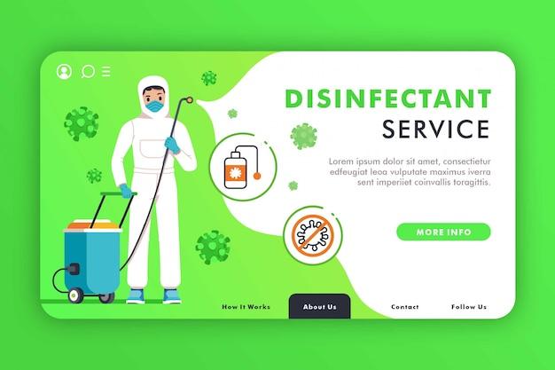 Modelo de página de destino criativa de serviço desinfetante