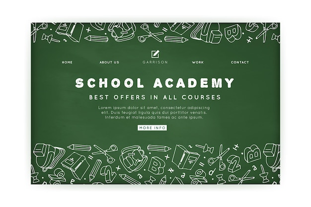 Modelo de página de destino da academia escolar