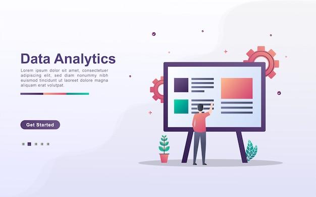 Modelo de página de destino da análise de dados no estilo de efeito gradiente