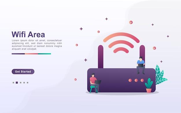 Modelo de página de destino da área wi-fi