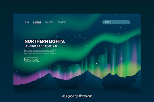 Modelo de página de destino da aurora boreal