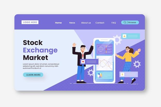 Modelo de página de destino da bolsa de valores