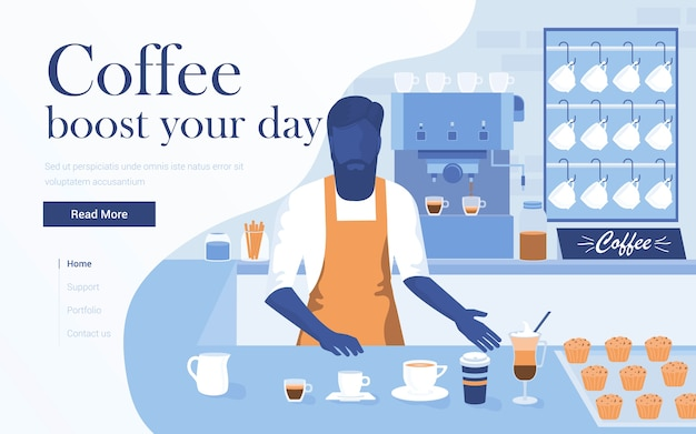 Modelo de página de destino da cafeteria. jovem barista fazendo café no bar. moderno de página da web para site e site para celular. ilustração