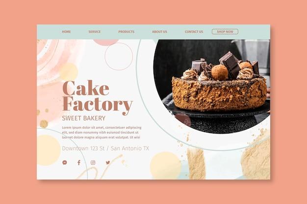 Modelo de página de destino da cake factory