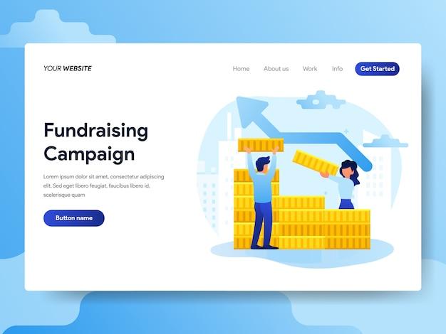 Modelo de página de destino da campanha de angariação de fundos
