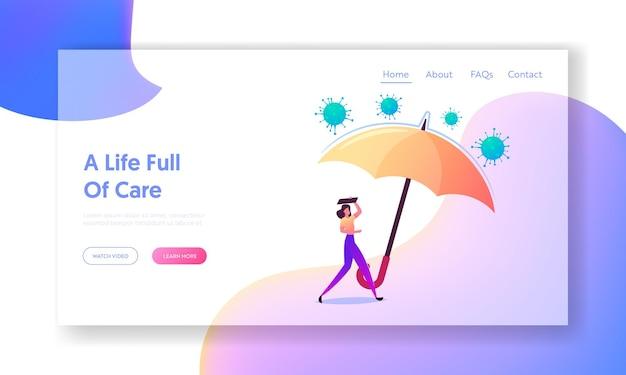 Modelo de página de destino da covid19 insurance. mulher sob um enorme guarda-chuva protegendo contra o ataque de células do coronavírus