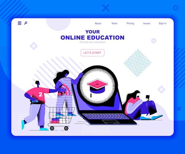 Modelo de página de destino da educação on-line