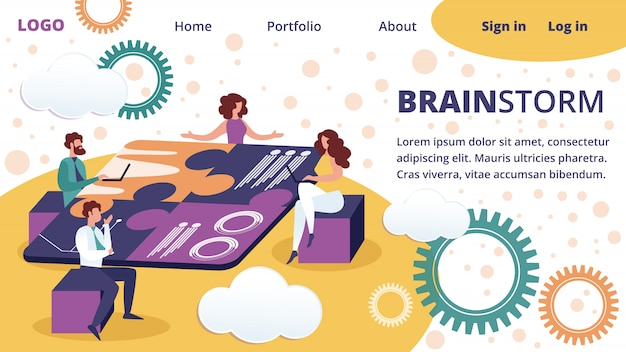 Modelo de página de destino da empresa trabalho em equipe colaboração