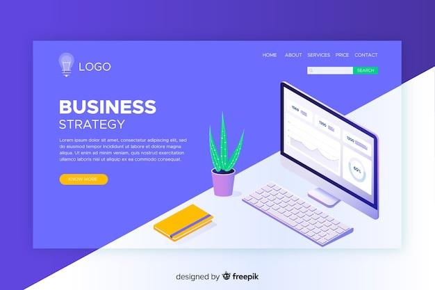Modelo de página de destino da estratégia de negócios