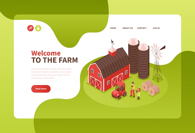 Modelo de página de destino da fazenda isométrica