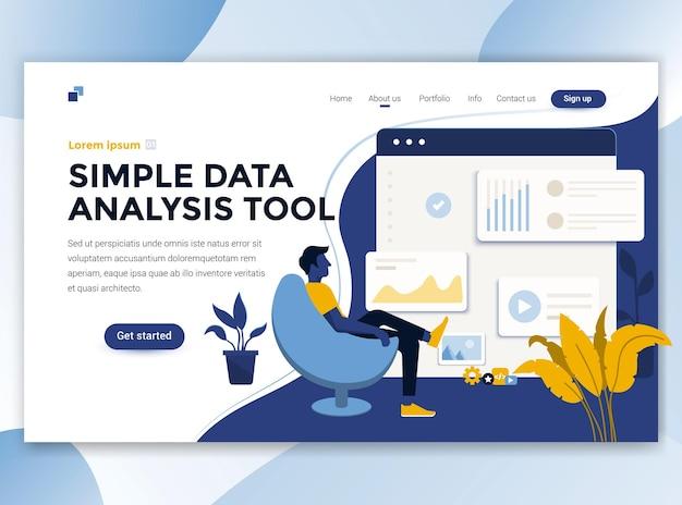 Modelo de página de destino da ferramenta de análise de dados simples