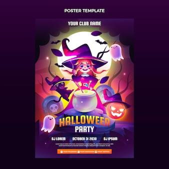 Modelo de página de destino da festa de halloween gradiente