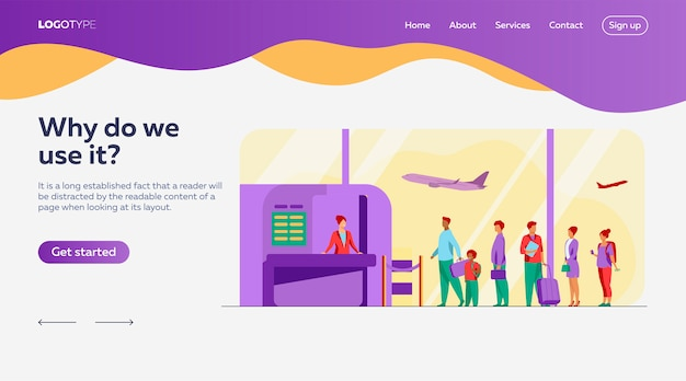 Modelo de página de destino da fila do aeroporto