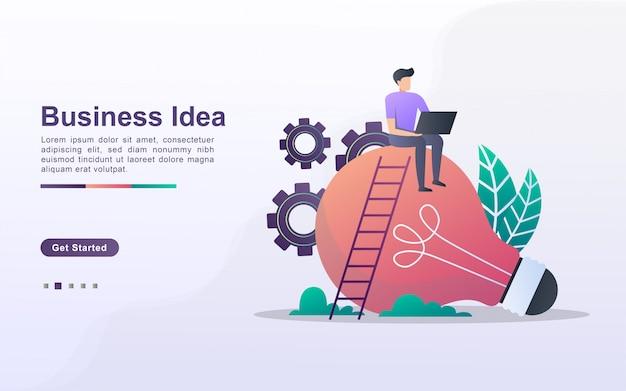 Modelo de página de destino da ideia de negócio em estilo de efeito gradiente