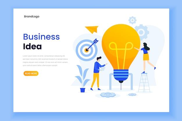 Modelo de página de destino da ideia de negócio