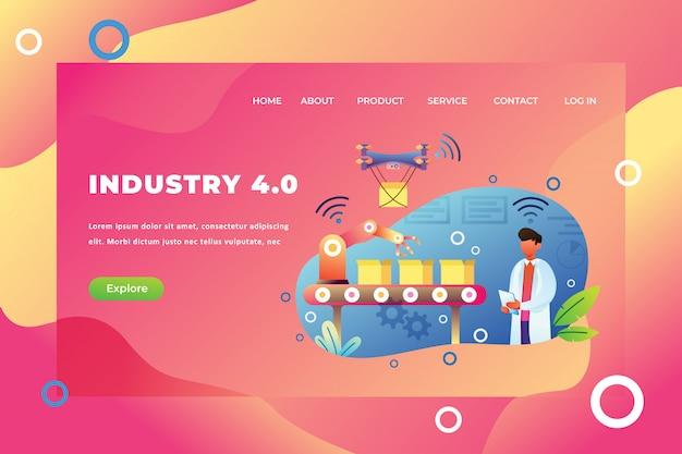 Modelo de página de destino da indústria 4.0