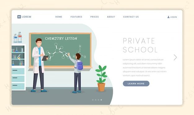 Modelo de página de destino da instituição educacional particular
