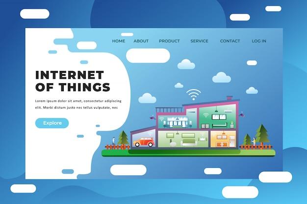Modelo de página de destino da internet das coisas