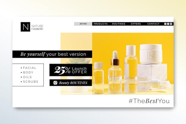 Modelo de página de destino da loja de cosméticos