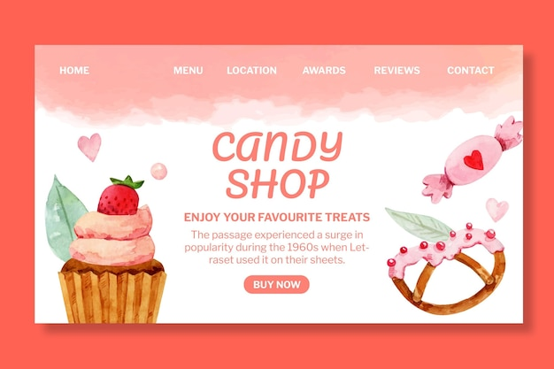 Modelo de página de destino da loja de doces