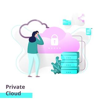 Modelo de página de destino da nuvem privada.