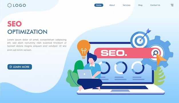 Modelo de página de destino da otimização seo