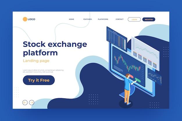 Modelo de página de destino da plataforma da bolsa de valores