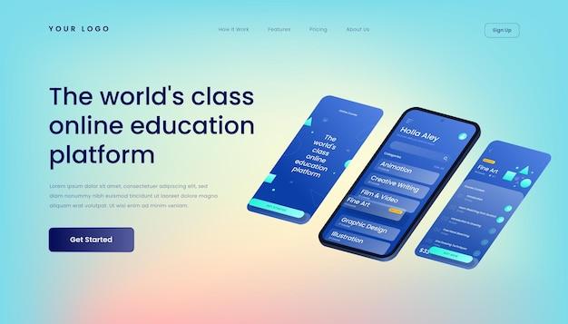 Modelo de página de destino da plataforma educacional on-line de classe mundial com interface de usuário móvel de ilustração 3d isométrica