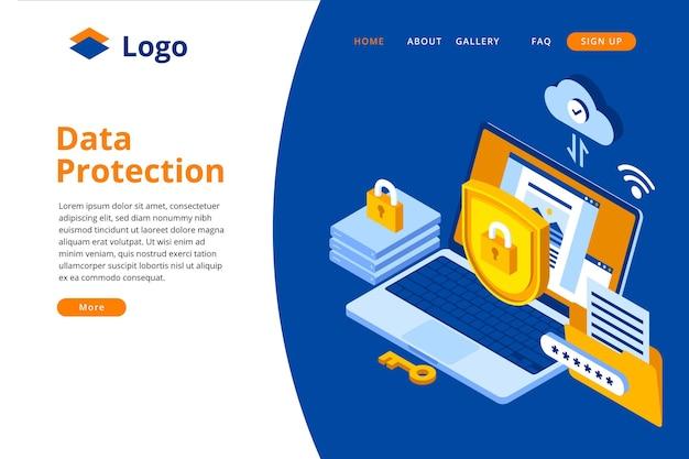Modelo de página de destino da proteção de dados