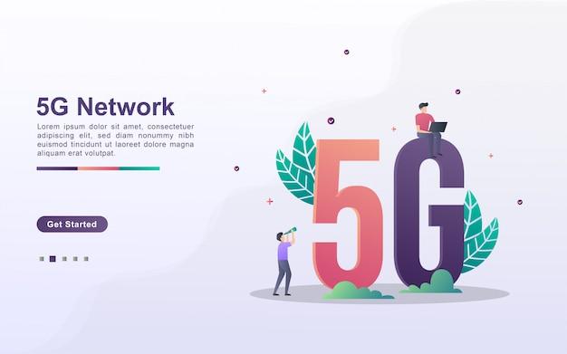 Modelo de página de destino da rede 5g em estilo de efeito gradiente