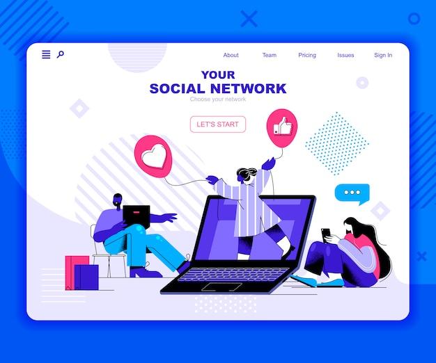 Modelo de página de destino da rede social
