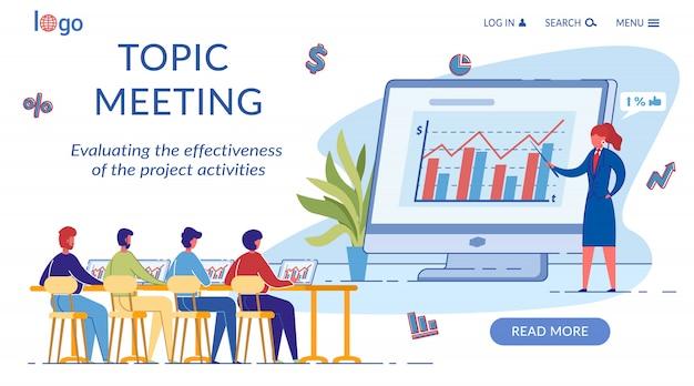 Modelo de página de destino da reunião de tópicos