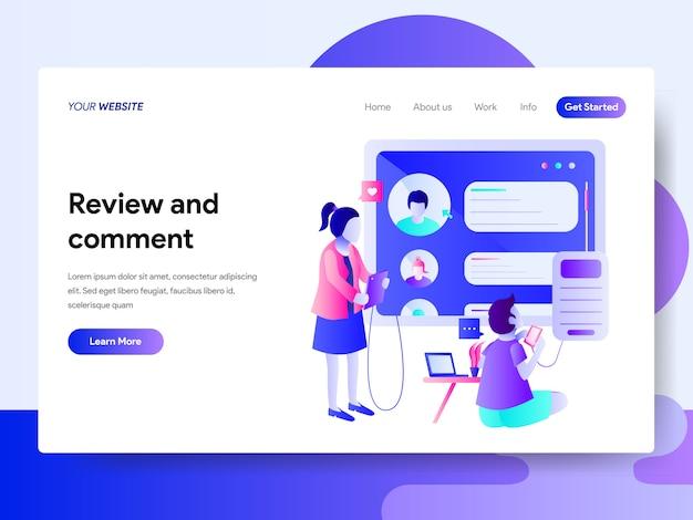 Modelo de página de destino da revisão e design de comentário