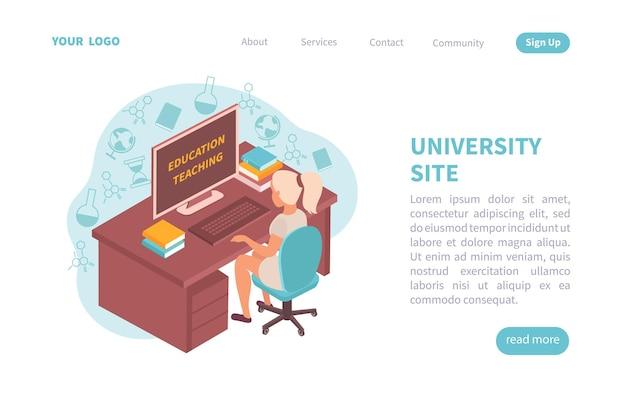 Modelo de página de destino da universidade