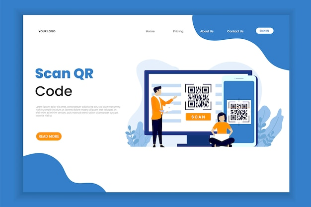Modelo de página de destino da verificação de código qr