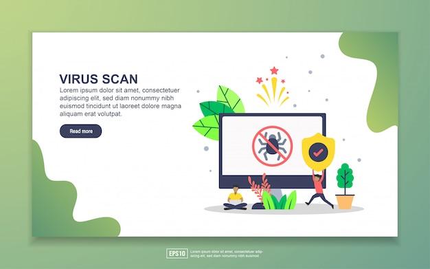 Modelo de página de destino da verificação de vírus